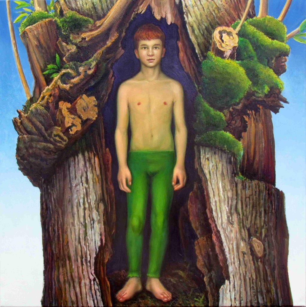 Carlo Bertocci Anima verde 2014 olio su tela cm 80x80