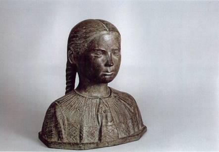 Bambina con le trecce, 1940 bronzo, h. cm.38