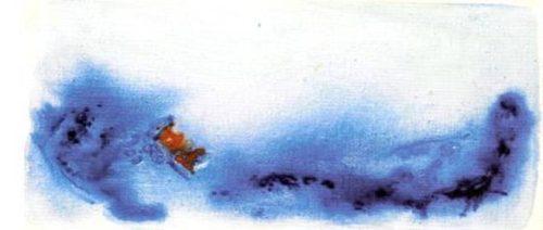 onda blu, 1968 - acquarello su cartoncino, cm 20x35