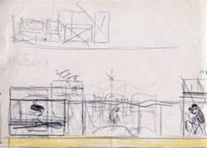 Schizzo di studio, su carta con matite colorate. Allestimento mostra di M. Cavaglieri a Rovigo, 1978
