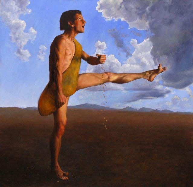 Gabor Szenteleky, Seminatore (2007)  olio su tela 150x150